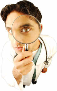 Powerwellness. Keep healthy! Essence of live. doctor looking through magnifying glass uid 1329155_300x473