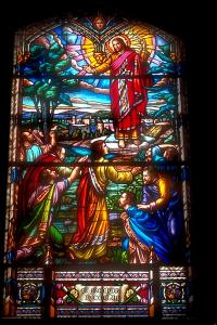 3 Advent Buntglasbild mit Jesus und Soldaten 4
